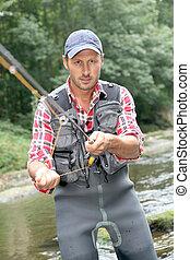 蒼蠅漁夫, 河, 鞭笞, 釣魚