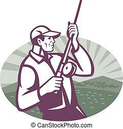 蒼蠅漁夫, 釣魚, 木刻, retro