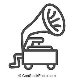 蓄音機, アイコン, 背景, graphics., 概念, スタイル, design., デザイン, 音, アウトライン, レコード, 白, ベクトル, モビール, 印, プレーヤー, 型, 古い骨董品, アイコン, チューブ, 線, 網