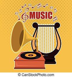 蓄音機, 音楽, ハープ