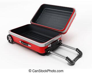 蓋子, 打開, 紅色, 小提箱