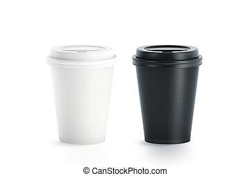 蓋子, 杯子, 可處理, 塑料, 紙, 黑色, 空白, 白色