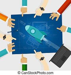 蓝图, 勾画, 大约, 火箭, 开始公司, 手, 技术, 图
