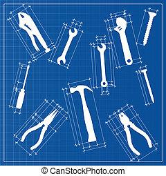 蓝图, 勾画, 工具