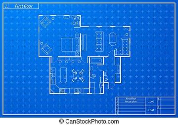 蓝图, 勾画, 房子, 风格, 建筑学, 家具
