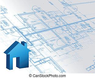 蓝图, 地图, 房子, 关于建筑的模型, 3d