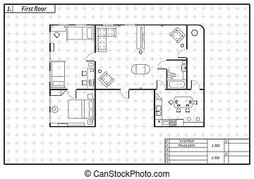 蓝图, 套间, 勾画, 计划, 风格, 隔离, 黑色, 建筑学, 白色, 家具