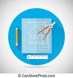 蓝图, 套间, 符号, 现代, 描述, 计划, 工程, 矢量, 设计, 背景, 指南针, 时尚, 划分者, 图标