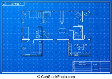 蓝图, 套间, 风格, 建筑学计划, 家具