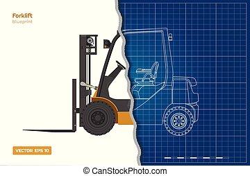 蓝图, 工业, outline, 机械, 柴油机, 3d, forklift., 边, loader., 顶端, 水力, 车辆, 前面, 观点。, 文件, 图, image.