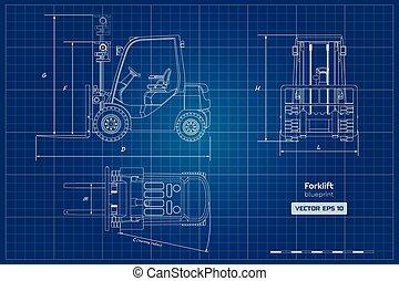 蓝图, 工业, outline, 机械, 柴油机, forklift., 边, loader., 顶端, 水力, 车辆, 前面, 观点。, 文件, 图, image.