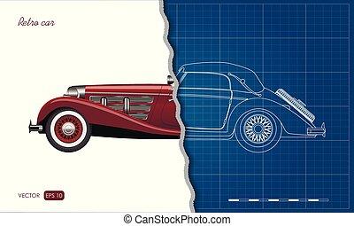 蓝图, 工业, outline, cabriolet, 汽车, style., 现实, 汽车。, retro, 葡萄收获期, 观点。, blueprint., 边, 3d