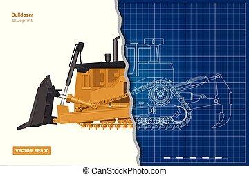 蓝图, 建筑物, 推土机, 工业, image., digger., outline, 柴油机, 往回, 隔离, 察看, 机械, 车辆, 桔子, dozer., 图, 前面, style., 边