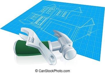蓝图, 房子, 工具