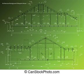 蓝图, 房子, 背景。, 矢量, 绿色, 正面