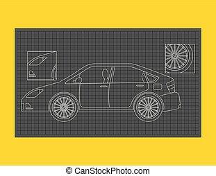 蓝图, 技术, 汽车, 或者, 纸, 示意性, 图