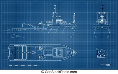 蓝图, 援救, 工业, outline, 隔离, 边, ship., 顶端, 前面, 观点。, 图, 船, image.