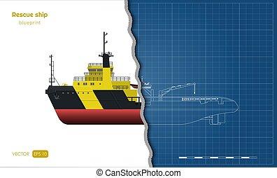蓝图, 援救, 现实, 工业, 形象, 白色, 边, 隔离, style., 背景。, 顶端, 前面, 观点。, 图, outline, 船, 船, 3d