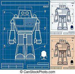 蓝图, 机器人, 卡通漫画