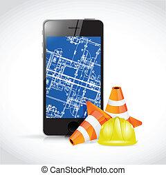 蓝图, 电话, 概念, 技术, design.