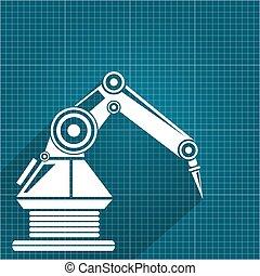 蓝图, 矢量, 手。, 机器人手臂, 背景。, 纸, 设计, 背景, 机器人, 技术, 符号