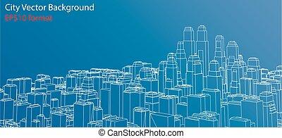蓝图, 矢量, wire-frame, 城市, style.