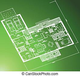 蓝图, 绿色, 建筑, 背景