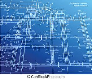 蓝图, 背景。, 矢量, 建筑学