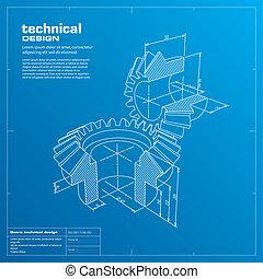 蓝图, 背景。, 齿轮, vector.