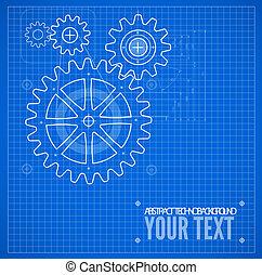 蓝图, 蓝的背景, 技术, 描述