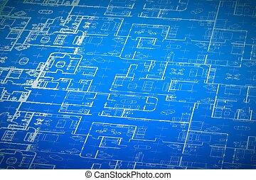 蓝图, 详尽, 地板, 房屋建设, 复杂, 计划, 背景, 内部, 白色, 规划, 观点, 细节
