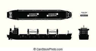 蓝图, 货物, 侧面影象, 白色, 背景。, 顶端, 黑色, tanker., 前面, 集装箱, 边, 船, 察看