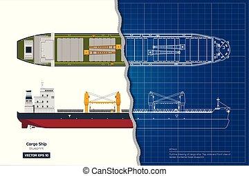 蓝图, 货物, 工业, 容器, 白色, 图, 背景。, 顶端, tanker., 前面, 船, 边, 船, 察看