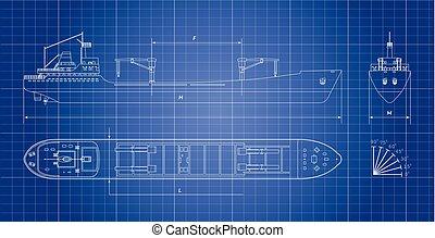 蓝图, 货船, 白的背景