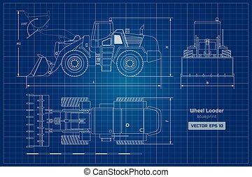 蓝图, 轮子, 推土机, 工业, image., digger., 柴油机, 水力, loader., 顶端, 机械, 前面, 观点。, 文件, 边