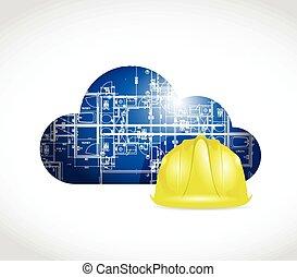 蓝图, 钢盔, 云, 描述