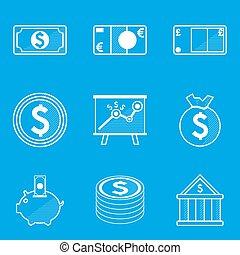 蓝图, 钱, set., 图标