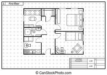 蓝图, 风格, 房子, 黑色, 建筑学计划