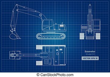 蓝图, excavator, digger., 形象, 柴油机, 水力, 边, 背景。, 顶端, 机械, 前面, 观点。, 白色