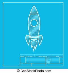 蓝图, illustration., 火箭, 部分, 签署, 白色, template., 图标