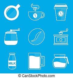 蓝图, set., 咖啡, 图标