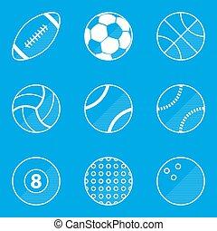 蓝图, set., 运动, 球, 图标