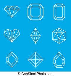 蓝图, set., 钻石, 图标