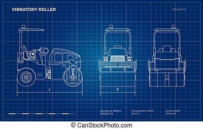 蓝图, vibratory, 边, 工业, image., 沥青, 柴油机, 往回, 隔离, compactor., 机械, 车辆, 前面, 观点。, 图, 建筑物, style., 滚筒, outline