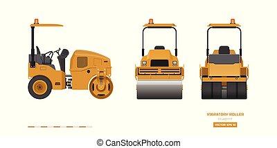 蓝图, vibratory, 边, 工业, image., 沥青, 现实, 柴油机, 往回, 隔离, compactor., 前面, 机械, 车辆, 桔子, 观点。, 图, 建筑物, style., 滚筒, 3d