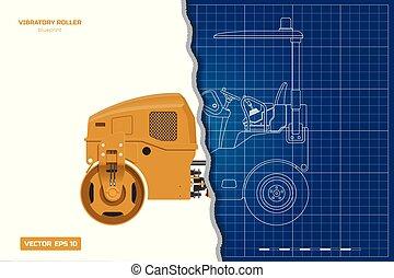 蓝图, vibratory, 边, 工业, image., 沥青, outline, 柴油机, 往回, 隔离, compactor., 机械, 车辆, 前面, 观点。, 图, 建筑物, style., 滚筒, 3d