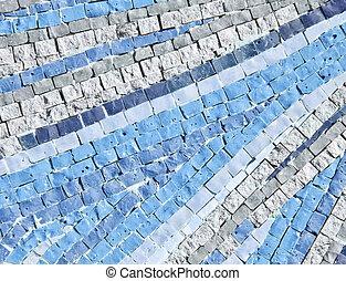 蓝的墙壁, 明亮, 陶瓷, 背景