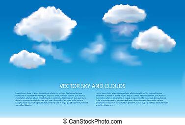 蓝的天空, 同时,, 云, 矢量, 背景