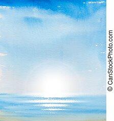 蓝的天空, 同时,, sea.