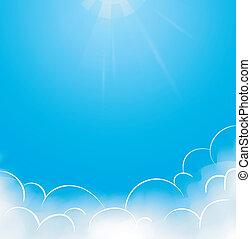 蓝的天空, 带, 云